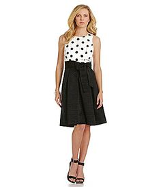 Eliza J PolkaDot FitandFlare Dress #Dillards