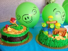I want two cakes like these for my twin boys angry bird party... that way they each have a cake but it goes together.