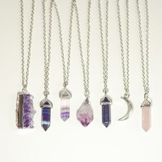 Amethyst, Fluorite, Blue Sandstone, Rose Quartz, Crescent Boho Moon Necklaces.