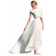 >> Click to Buy << Modest Boho Wedding Dress Cheap 2017 Robe De Mariage With Short Sleeves Lace Bodice Two Pieces Beach Style Wedding Bridal Gowns #Affiliate