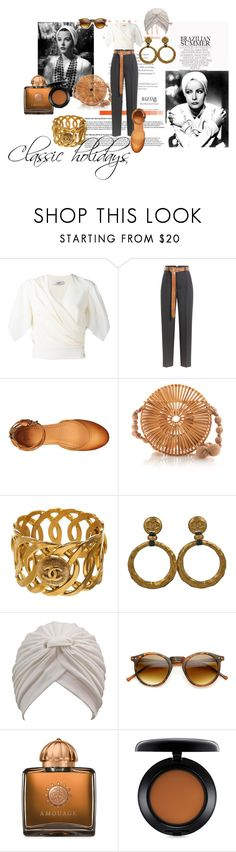 """Classic holidays"" by m-illumino-di-glamour ❤ liked on Polyvore featuring Lanvin, Golden Goose, Frye, Cult Gaia, Chanel, ZeroUV, AMOUAGE, MAC Cosmetics and vintage"