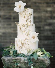 Gold and White wedding cake   Maggie Austin Wedding Cake   Blog.TheKnot.com