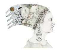 Deer dreamer A4 Giclee print Girl with headdress