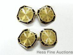 9981ba7ebb82 Art Deco 14k Gold Larter Black Enamel Antique 1930s Mens Cufflinks  Larter