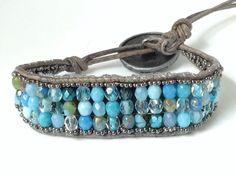 "Fitbit Flex (X-Small) bracelet - Limited edition ""Sky / turquoise / Aqua Blue"" Leather wrap"