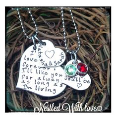 Mothers Day: Personalized Hand Stamped I'll Love You Forever Necklace