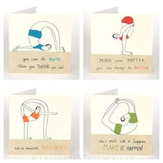 set of 4 yoga greeting cards yoga postcards by RedCheeksFactory