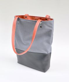 Modern Tote Handbag in Gray Suede with Red by thingsSHEcarried, $59.00