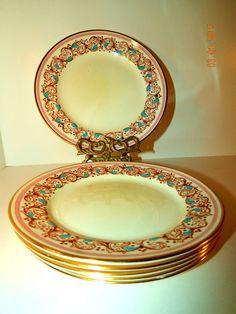 Adderly Pink, Aqua Blue,Gold Lunch or Dessert Plates Bone China Made in England #Adderly