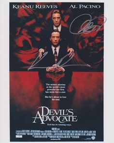 Signed Movie poster - The Devils Advocate - Al Pacino & Keanu Reeves