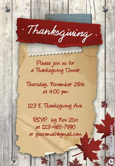 Free Printable  Customizable Thanksgiving Invitation