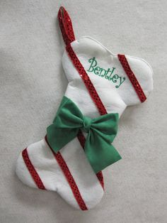 Dog Christmas Stocking Red Stripe personalized by AlexisJude, $18.00