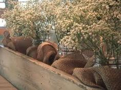 mason jars & burlap in wooden crate. What do you think Flaming? Burlap Mason Jars, Rustic Planters, 50th Wedding Anniversary, Anniversary Flowers, Golden Anniversary, Anniversary Ideas, Rustic Centerpieces, Centerpiece Wedding, Centerpiece Ideas