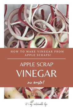 Apple scrap vinegar, a wonderful way to create a no waste kitchen by using up all the scraps from fall's most favorite apple recipes. Although not a true apple cider vinegar, this fermented apple vinegar sure is a tasty alternative.   It's My Sustainable Life @itsmysustainablelife #applescrapvinegar #applecidervinegar #fruitscrapvinegar #fermentingapplescraps #fermentingvinegar #howtomakeapplescrapvinegar #apple #homemadevinegar #itsmysustainablelife
