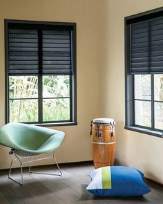 Horizontal Sheer Shadings in Black 15127 with custom color block pillow Window Treatments, Bedroom Inspirations, Inspiration, Bold Bedroom, Windows, Blinds, Modern House, Home Decor, Window Coverings