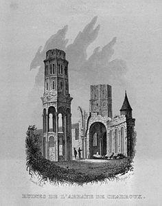 Ruines de l'abbaye de Charroux (Reproduction d'une gravure publiée dans : Guide pittoresque du voyageur en France. T. 1 - Vienne).