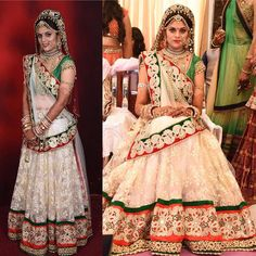 Another bridal outfit for a beautiful Gujarati bride! The Panetar is always within the colours of RedGreen and White. The lehenga has beautiful white and golden thread embroidery with rose motifs and the borders are of zardozi and mirror work with beautiful white and golden pearl tassel border! After allwho doesnt love white and gold combo! #gujarati #gujaratibride #panetar #indianbrides #indianbridesmaid #msewstylish #whiteandgold #lehengacholi #potd #bridalattire #indianbride #custommade…