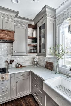 Home Remodel On A Budget Grey Kitchen Design - Home Bunch Interior Design Ideas.Home Remodel On A Budget Grey Kitchen Design - Home Bunch Interior Design Ideas Farmhouse Kitchen Cabinets, Kitchen Redo, Kitchen Dining, Kitchen Rustic, Kitchen Corner, Grey Painted Kitchen Cabinets, Kitchen Storage, Corner Cupboard, Gray Stained Cabinets