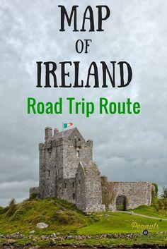 Map of Ireland - Our Road Trip Route - Peanuts or Pretzels Travel Ireland RoadTrip Dublin Ireland Vacation, Ireland Travel, Cork Ireland, Dublin Travel, Galway Ireland, Paris Travel, Ireland Food, Kenmare Ireland, Belfast Ireland