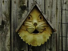 Do you think any birds have actually moved in since they are required to fly in and out of the cat's mouth?  #Birdhouses