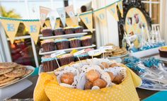You're Welcome Events- Curious George themed Baby Shower- donut holes- sweet love banner