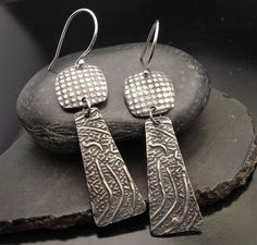 CheckMate  Sterling Silver Textured Earrings by designsbysuzyn