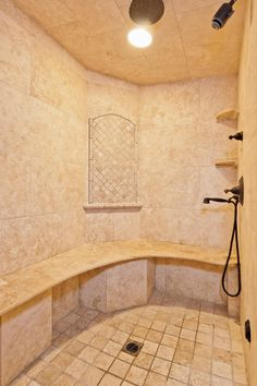 The steam shower in the spa-like master bathroom.