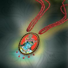 Traditional Tanjore Krishna pendant jewelry based in India. Explore more Painting base Jewellery click here http://bit.ly/1iNeFcg