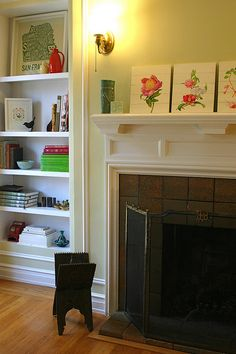 Love the decorations on the bookcases and mantel!