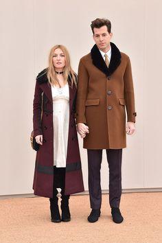 Josephine de la Baume and Mark Ronson, both in Burberry.. Burberry menswear show, London - January 11 2016