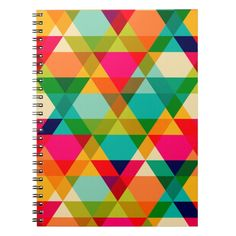 Fun Colorful Bright Geometric Triangle Pattern Notebook Custom Office Retirement #office #retirement