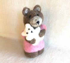 Needle felted Bear felting animal cub felting bear by Felt4Soul, $23.00