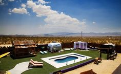 Looks fun! Hicksville Trailer Palace owner Morgan Higby Night isn't the first creative type to find inspiration in the rugged, lunar landscape of Joshua Tree National Park (see also: Gram Parsons, U2). But the Los Angeles-based writer and producer (Shortbus, Talking About Sex) has certainly taken his artists' retreat there to an audaciously kitschy level.  (Courtesy Hicksville Trailer Palace)