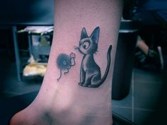 andytattoo:  Tattooed jiji from (Kiki's delivery service) and a soot sprite from (spirited away ) <3