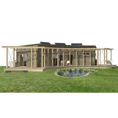This one is called Lola and is noted as eco-friendly with solar panels and water catchment system. Building Costs, Metal Building Homes, Building A House, Cottage House Plans, Cottage Homes, House Floor Plans, Farm House, Small Modern House Plans, House Plan With Loft