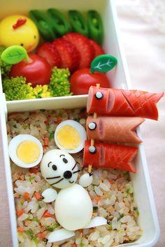 Quail Egg Mouse and Sausage Koinobori (Japanese Carp Streamer), Kyaraben Bento by kentomama