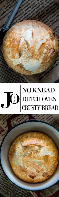 No Knead Dutch Oven Crusty Bread - no kneading required, 4 simple ingredients…
