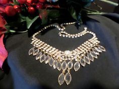 Vintage Clear Rhinestone Necklace with Bezel Set Crystals (Juliana???) #616
