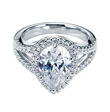 Gabriel & Co. Pretty Pair Cut White Gold Contemporary Halo Engagement Ring- available at Westshore Diamond!