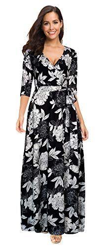 e3811e9ed0189 Afibi Womens Bohemian 3/4 Sleeve Faux Wrap Maxi Dress with Belt