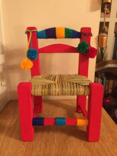 Hand Painted Furniture, Repurposed Furniture, Kids Furniture, Mexican Furniture, Chair Redo, Cozy Room, Vintage Chairs, Bottle Art, Cool Chairs
