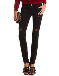 Shredded Low Rise Skinny Jeans: Charlotte Russe