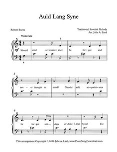 Auld Lang Syne - New Year's Eve Song with lyrics, free PDF printable easy piano sheet music.
