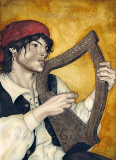 Fantasy Art ACEO PRINT gypsy violin magical wc