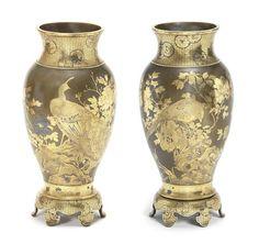 A fine pair of inlaid bronze vases By Kajima Ikkoku II Meiji era circa Japanese Vase, Japanese Modern, Japanese Beauty, Peacock And Peahen, Meiji Era, Antique Lamps, Japan Art, Decoration, Metal Working