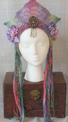 Fantasy Rainbow Ethereal Whimsical Fairy Queen Princess Crown Headdress headpiece Belly dance Renaissance faire Art Nouveau Nymph Wreath via Etsy