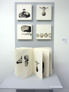 Stones and Bones by Jill McKeown. Accordion format artist's book of intaglio prints and screenprinted text. 2006.