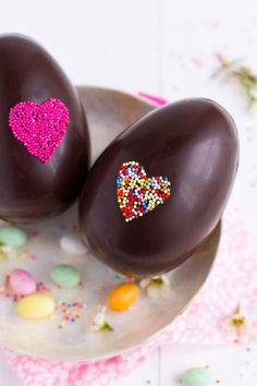 Easter chocolate eggs decorated with sprinkles