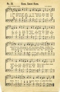 """Home Sweet Home"" ~ sheet music from an antique songbook published in 1898."