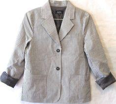 A.P.C Seersucker Blazer Suit Jacket Grey Black White Pinstripe Lined Summer XS #APC #Blazer